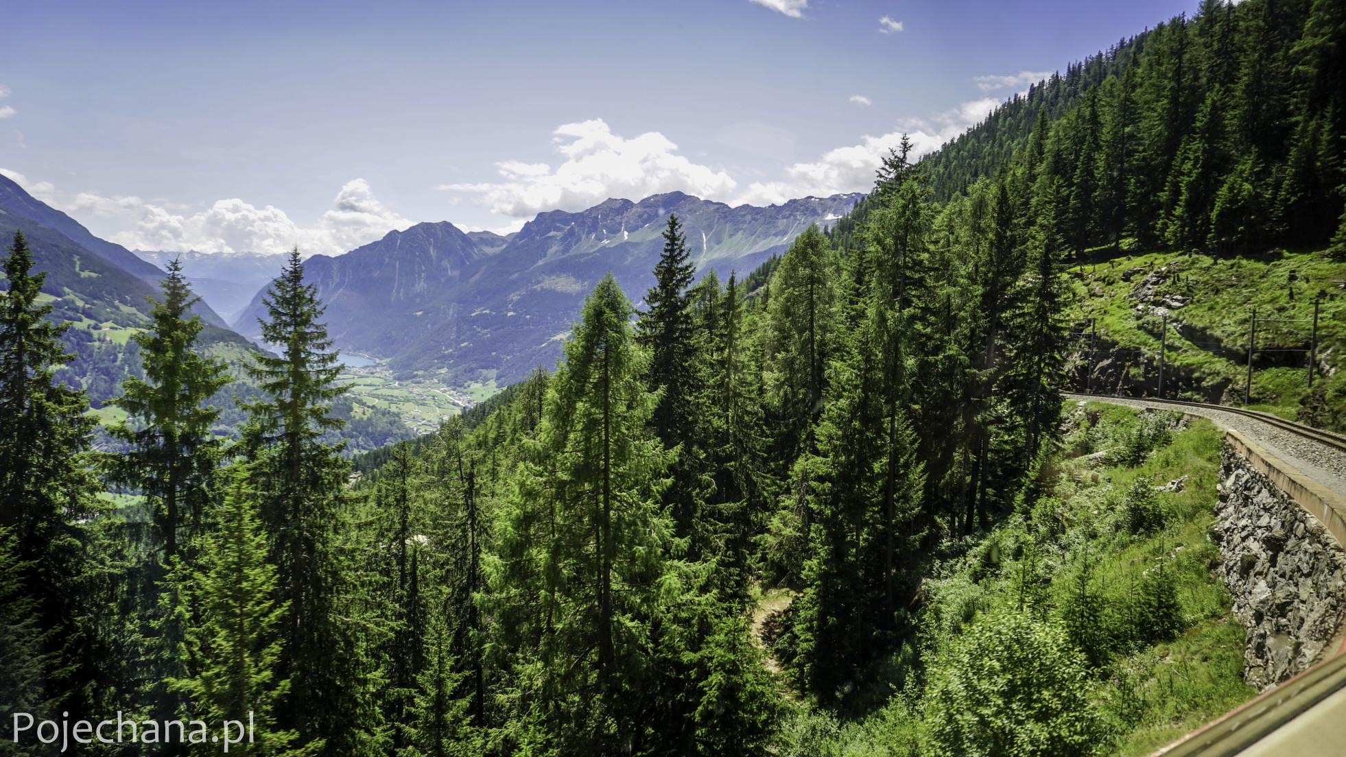 widok na zielone Alpy z okna pociągu